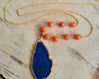 Blue Agate Slice Pendant Long Necklace