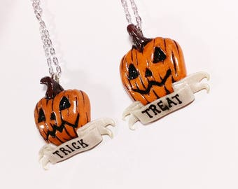 BFF Trick or Treat Pumpkin Necklace set. Halloween Gifts. Friendship necklaces.