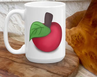 Kids Gift Idea - Red Apple Mug - Kids Drinking Cup - Fruits, Apple Lover Gift - Friendship Girls - Gift for little Kids - Milk, Coffee Cup