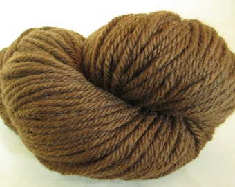 Natural Dye Yarn - Bulky Wool - Plant-Dyed with Foraged Black Walnut Hulls- Wisconsin Local Color - YAB101746 - 100 grams