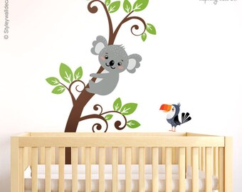 Koala Wall Decal, Branch Wall Decal, Koala and Branch Wall Decal Sticker, Koala Bear Parrot Wall Sticker, Kids Baby Nursery Decor Decal