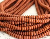 4mm Rondelle Beads - 4mm Spacer Beads - Disk Beads - Jewelry Making Supply - Opaque Matte Terra Cotta