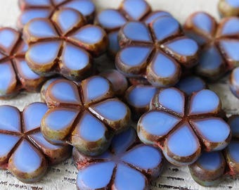 Czech Glass Flower Beads - Jewelry Making Supply - 17mm Hawaiian Glass Flower - Pansy Opaque Periwinkle Table Cut Beads - Choose Amount