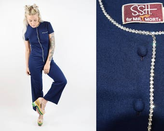 VTG 50s 60s Fancy Rhinestone Jumpsuit Short Sleeve Wide Leg Flared Bell Bottom Crystal Wool Velour Romper Coverall Overall Dungaree Vintage