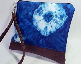 Vegan Purse/Wristlet in Blue Shibori Dye with Cork Leather