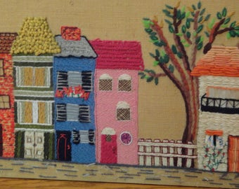 Vintage STITCHERY Picture Folk Art Retro Needlecraft OOAK Townhouses 1960s Embroidery