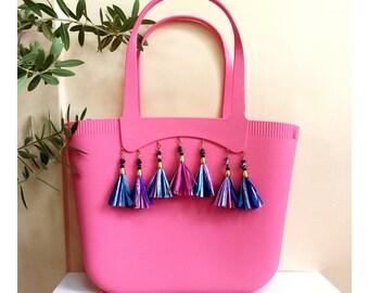 Tassel Beach Bag, Tasseled Tote Handbag, Rubber Tote, Pink Basket Bag, Raffia Tassel Bag