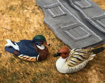 Miniature Duck Decoys, Mini Ducks, Set of 2,  Dollhouse Miniature, 1:12 Scale, Dollhouse Accessory, Decor, Mini Hunting Decor