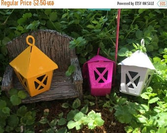 SALE Miniature White Metal Lantern, Fairy Garden Accessory, Miniature Gardening, Home and Garden Decor, Topper, Crafting