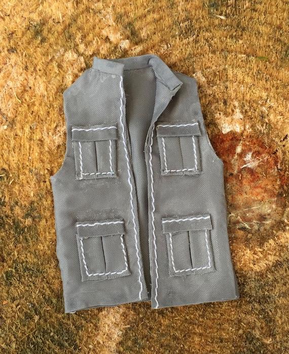 Miniature Fishing Vest, Mini Gray Vest, Dollhouse Miniature, 1:12 Scale, Dollhouse Accessory, Decor, Crafts