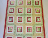 """Twin Size Quilt """"Orchids"""" 74.5 x 46.5"""" Quilted Wallhanging, Patchwork Photo Quilt, Quilted Blanket, Quiltsy Handmade, Floral Quilt"""