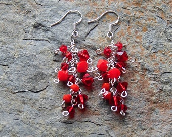 Red crystal cluster earrings - sterling silver and swarovski crystals - fancy red dangle earrings - boho style - holiday - gift for her