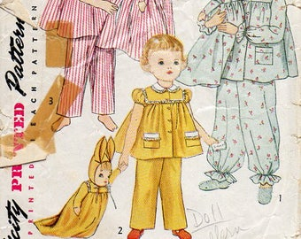 1950s Bunny Laundry Bag Doll Pattern - Vintage Simplicity 4025 - PAJAMAS NOT INCLUDED