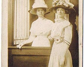 RPPC Lovely Ladies - Fashion Hats - Small Waists - Gloves - Period Dress - Leaded Windows - Circa 1905- 1920 Americana!