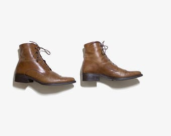 Vintage Ankle Boots 9 / Brown Leather Boots / Leather Ankle Boots / Ankle Boots Women