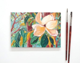 Magnolia Study, Changing Color, Oil Painting, Floral Painting, Flowers In Oil, Magnolia Paintiing, 5x7