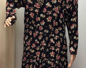 90s Black Floral Dress Vintage Retro Casual Summer L XL