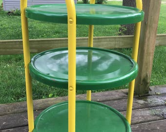 Vintage 3 Tiered Green and Yellow Metal Cart