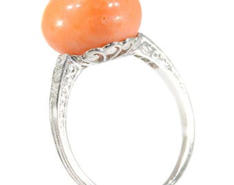 Cabochon coral diamond ring platinum old mine cut diamonds .06ct French Art Deco vintage jewelry