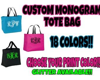 Custom Monogram Tote Bag, Custom Tote, Sparkle Monogram Bag, Monogram Bag, Personalized Tote Bag