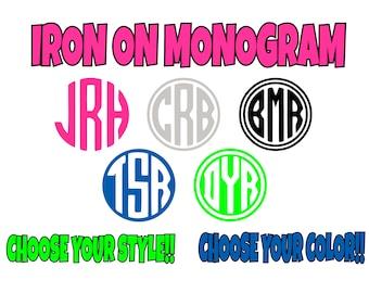 Iron On Custom Monogram, Circle Monogram, Iron On Transfer, Custom Monogram, DIY Monogram, Monogram Do It Yourself