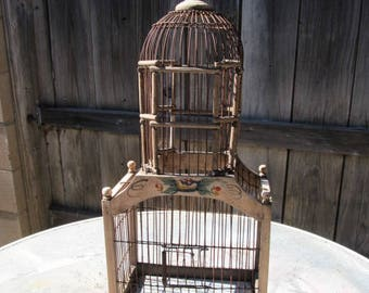 Old Antique Wood Wire Hand Painted Tower Birdcage