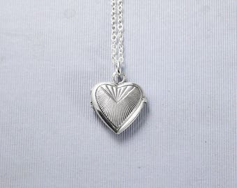 Sterling Silver Locket Necklace, Small Heart Shaped Photo Pendant - Ray of Sun