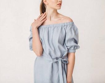 Blue Linen Dress Off Shoulder