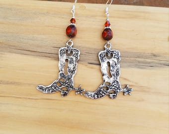 Big Red Cowboy Boot Earrings, Red Cowboy Boot Sterling Silver Earrings, Big Red Cowboy Boots Silver Earrings