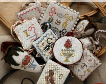 Festive Little Fobs Three, Stitching Edition : Cross Stitch Pattern by Heartstring Samplery