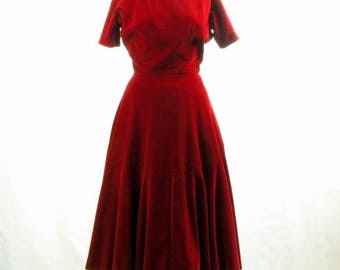 Vintage 1950s Red Velvet Party Dress