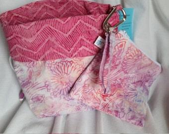 Reversible Standup Drawstring Bag Project Bag Set for knitters crocheters spinners felters Pink Batik