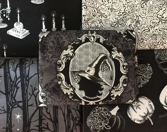 Fright Night from Henry Glass Fabrics - 5 Fat Quarters or Half Yard Bundle of Halloween pumpkins, spider webs, and more