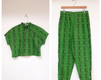 Vintage 1990s Two Piece Bright Green Patterned Crop Top and High Waisted Pants Set