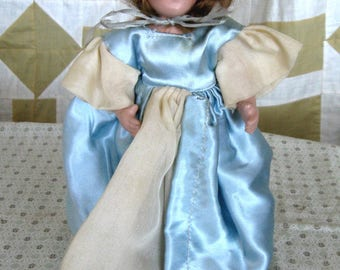 Vintage Bisque Dressed In Blue Dress Pink Hat Jointed Doll