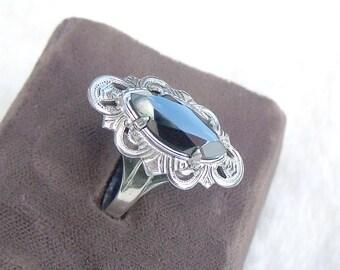 Art Deco Hematite Ring Sterling Silver L.S. Peterson Co Size 8 Vintage Antique