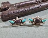 Reserved for jo***e. . . . . . Southwest Southwestern Native American Turquoise Earrings Black Onyx Sterling Silver Pierced Post Petit