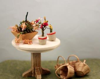 Vintage Miniature Patio Table Wicker Baskets Potted Flowers Fuchsia Basket Fairy Garden  Dollhouse Sunroom Porch