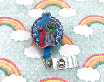 Sesame Street Elmo Oscar the Grouch Cookie Monster Kids Retractable ID Badge Reel Holder Nurse Rn CNA Technician Pediatric Nicu
