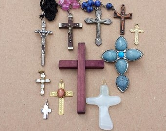Collection of 11 Vintage Crosses Crucifixes, Metal, Wood, Glass, Rhinestones, Religious, Spirituality, Jewelry Assemblage, Altered Arts