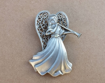 Winged Pewter Christmas Angel Blowing Horn, AB Stone, Signed JJ, Brooch Pin, Retired Piece