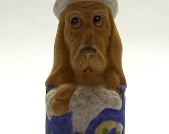 Vintage Jasco Critter Dog Bell, Basset Hound Novelty Bell, Dog in Bathtub Bell, Bisque Porcelain Animal Bell, Dog Figurine Bell