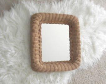 Vintage Wicker Mirror, Boho Mirror, Bohemian Decor, Boho Wicker Wall Mirror, Jungalow Decor, Gift For Her