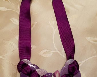 Industrial Chic Upcycled Hardware Jewelry - Glazed Washer and Ribbon Necklace, Purple