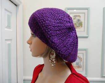 PURPLE/ MAGENTA TAM/Beret ,Hand knitted , made od a soft acrylic ,worsted weight yarn, seed stitch pattern, one size fits most adults