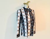 Vintage Retro 1960's Black and Ivory Blouse / Pussy Bow Mini Floral Polyester Woman's Shirt / Size Small-Medium