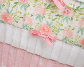 Watercolor Floral Baby Bedding, Personalized Crib Bedding, Peachy Pink and Green Flowers, Tribal Feather Herringbone Skirt, Name Crib Sheet