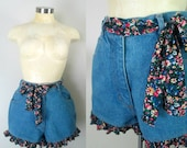 Ruffled Denim Shorts Vintage 1990s True Blue Size 29 Inch Waist