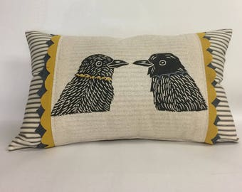 Decorative Ticking Stripe Kidney Pillow with Bird Block Print with Your Choice of Hand Cut Felt Trim