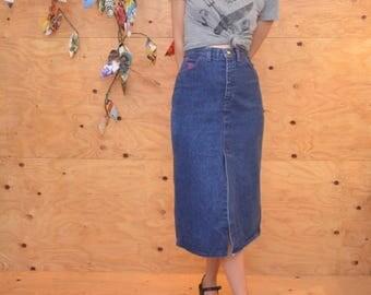 Vintage 80's High Waist Denim Jean Pucci Pencil Skirt SZ Small Midi Length